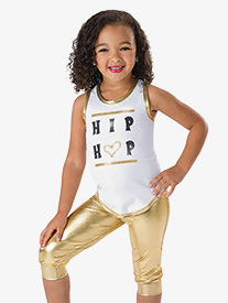 Girls Hip Hop Queen 2-Piece Metallic Dance Costume Set
