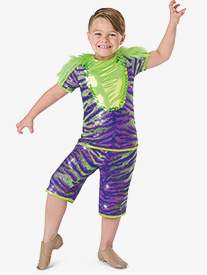 Boys Monster Mash Tiger Print 2-Piece Dance Costume Set