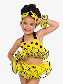 Girls Yellow Polka Dot Bikini Performance Costume