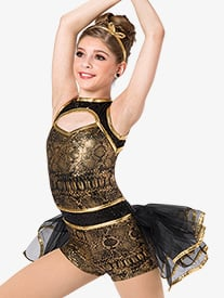 Girls Baby Im A Star Snakeskin Print Costume Shorty Unitard