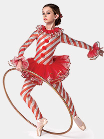 Womens Candy Cane Dance Striped Performance Unitard
