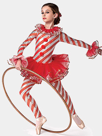 Girls Candy Cane Dance Striped Performance Unitard