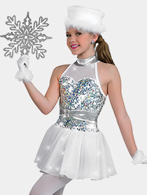 Girls Let It Snow Halter Performance Dress