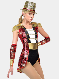 Womens Wooden Soldier Sequin Performance Bustled Leotard