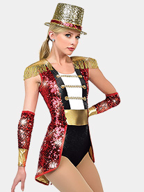 Girls Wooden Soldier Sequin Performance Bustled Leotard