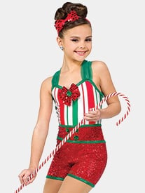 Girls Holly Jolly Jam Three-Tone Performance Shorty Unitard
