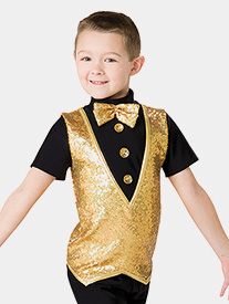 Boys Sequin Faux Vest Performance Top
