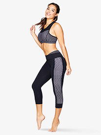 Womens Downtown Print Workout Capri Leggings