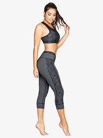 Womens Satellite Print Workout Capri Leggings