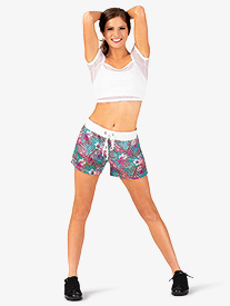 Womens Paradise Print Athletic Shorts
