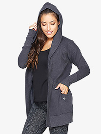 Womens Long Hooded Workout Cardigan