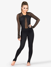Adult Plunging Powermesh V-Unitard