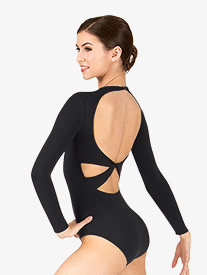 Womens Twist Back Compression Long Sleeve Leotard