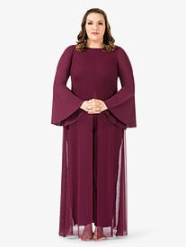 Womens Plus Size Long Sleeve Worship Jumpsuit