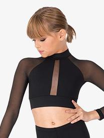 Womens Mock Neck Long Sleeve Dance Crop Top