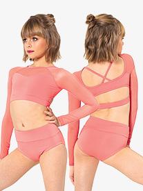 Girls X-Back Long Sleeve Dance Crop Top