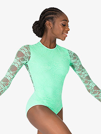 Womens Lace Overlay Long Sleeve Leotard