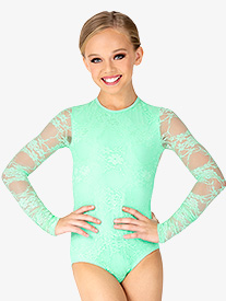 Girls Lace Overlay Long Sleeve Leotard