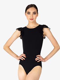 Womens Diamond Mesh Flutter Sleeve Leotard