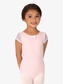 Girls Mesh Short Sleeve Leotard