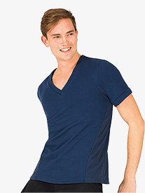 Mens V-Front French Terry Short Sleeve Dance Top