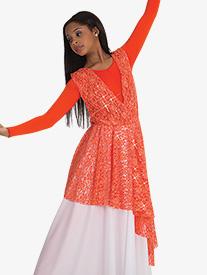 Girls Asymmetrical Lace Worship Overlay