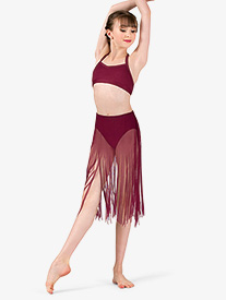 Girls Performance Sheer Mesh Fringe Skirt