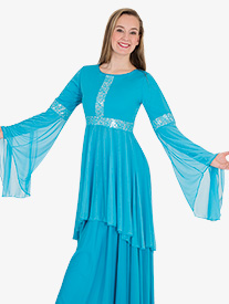 Womens Lace Insert Drapey Metallic Worship Tunic