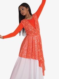 Womens Plus Asymmetrical Lace Worship Overlay