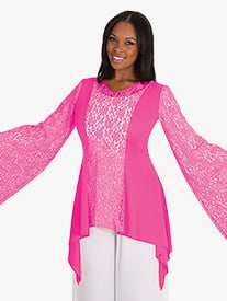 Womens Drapey Lace Panel Worship Tunic
