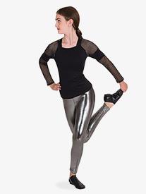 Womens Metallic Mesh Long Sleeve Dance Top