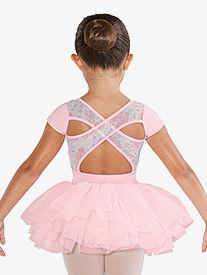Girls Floral Printed Mesh Short Sleeve Ballet Tutu Dress