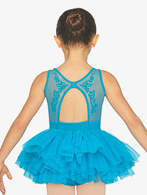 Girls Flock Mesh Back Cutout Tank Ballet Tutu Dress