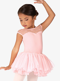 Girls Birdine Floral Mesh Short Sleeve Ballet Tutu Dress