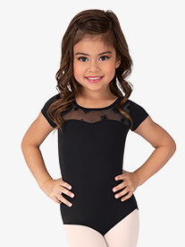Girls Antheia Open Bow Back Short Sleeve Leotard