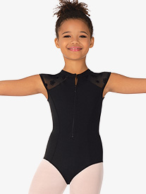 Girls Petrina Zip Front Short Sleeve Leotard