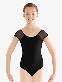 Girls Rhinestone Mesh Cap Sleeve Leotard