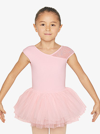 Girls Asymmetrical Floral Mesh Cap Sleeve Ballet Tutu Dress