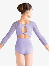 Girls Diamond Heart Mesh 3/4 Sleeve Leotard