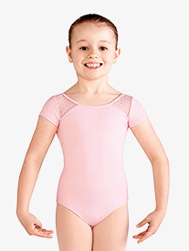 Girls Daisy Mesh Short Sleeve Leotard