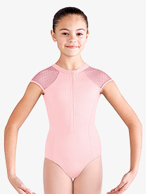 Girls Daisy Mesh Cap Sleeve Leotard