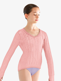 Girls Cable Knit Keyhole Warm Up Sweater