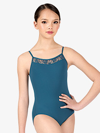 Girls Swirl Lace V-Front Camisole Leotard