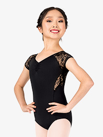 Girls Swirl Lace V-Front Cap Sleeve Leotard