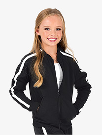Girls Team Zip Up Long Sleeve Striped Jacket