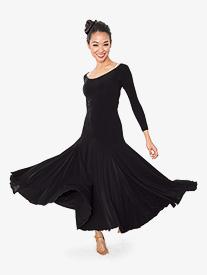 Womens Back Cutout Long Ballroom Dance Dress