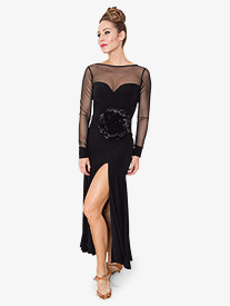 Womens Sweetheart Mesh Long Ballroom Dance Dress