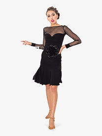 Womens Sweetheart Mesh Short Ballroom Dance Dress