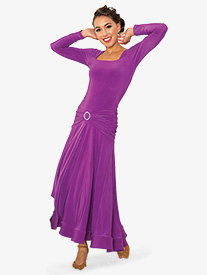 Womens Square Front Long Ballroom Dance Dress
