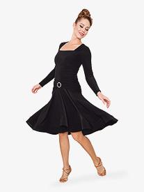 Womens Square Front Short Ballroom Dance Dress